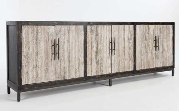large media cabinet with 6 granite doorsA