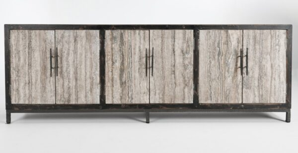 large media cabinet with 6 granite doors front view