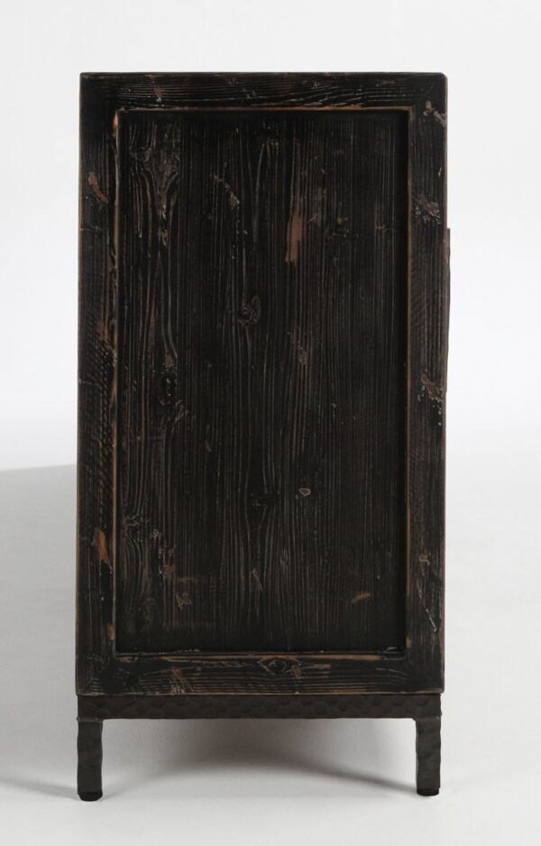 large media cabinet with 6 granite doors view of the side
