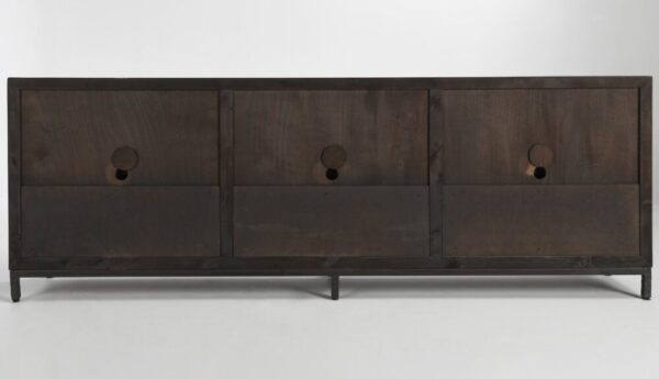 large media cabinet with 6 granite doors view of the back