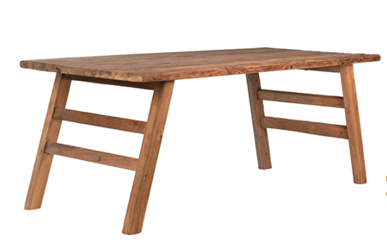 """79"""" natural teak dining table side view"""