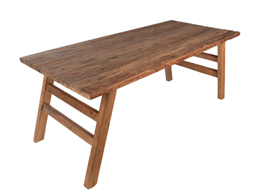 """79"""" natural teak dining table top view"""
