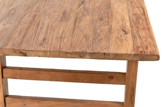 """79"""" natural teak dining table top closeup"""