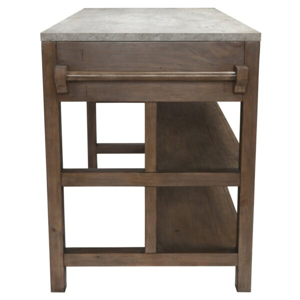 wood and concrete kitchen island side view
