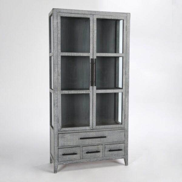 tall antique blue glass cabinet