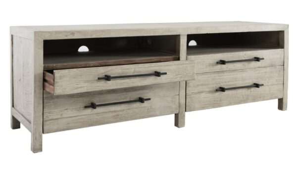 Low whitewash TV stand media console with open drawers