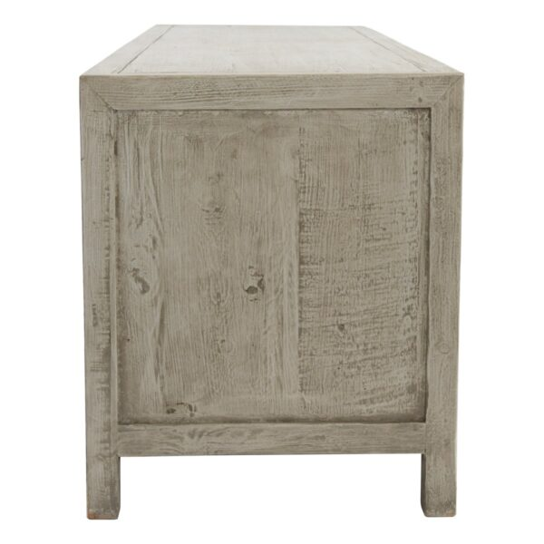 Low whitewash TV stand media console side view