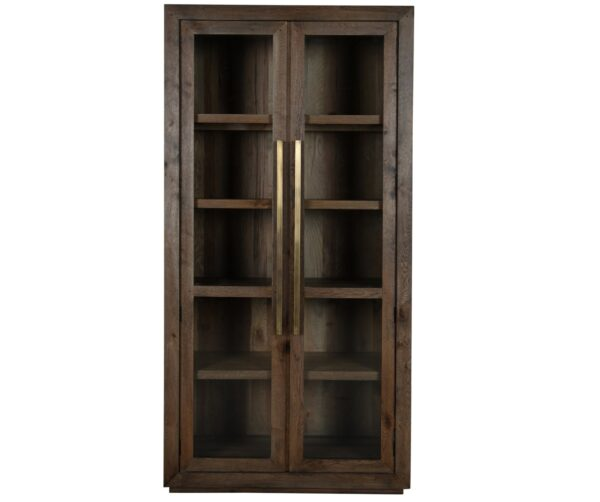 tall wood glass cabinet front view