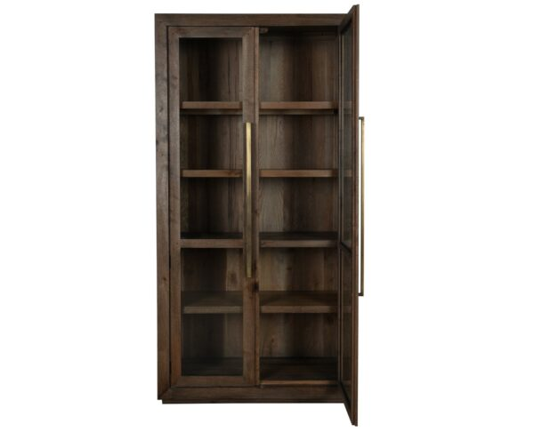 tall wood glass cabinet with open door