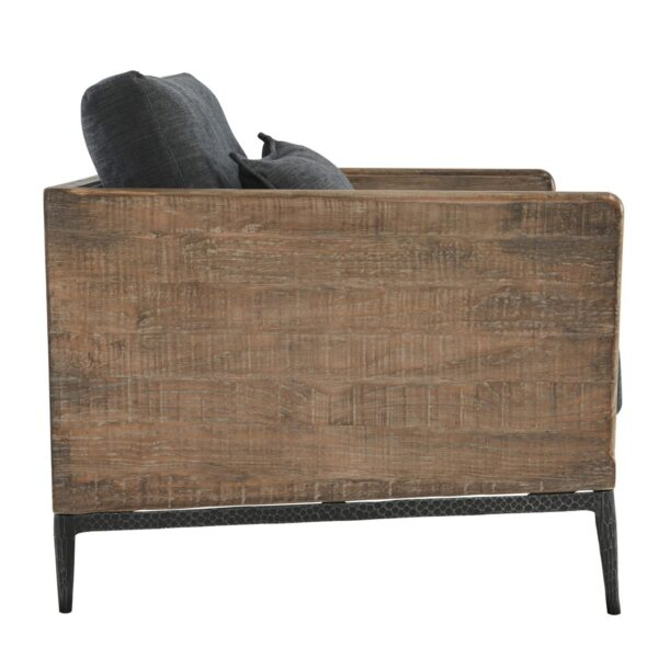 navy blue wood chair side view