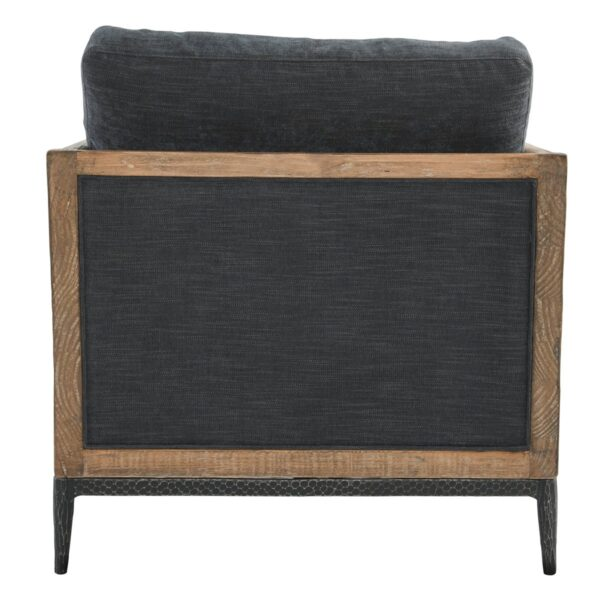 navy blue wood accent chair back view