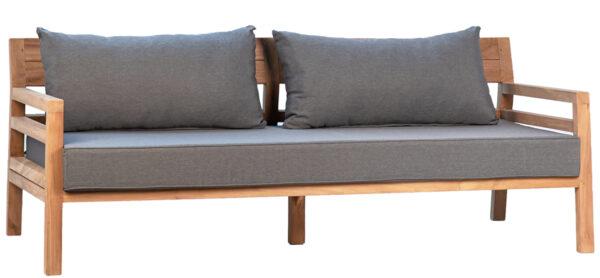 "75"" teak bench with grey cushion"