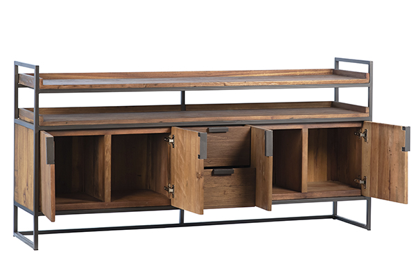 wood and iron console with open doors