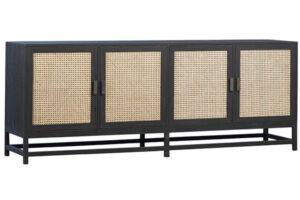 Royette Black Wood and Rattan Sideboard