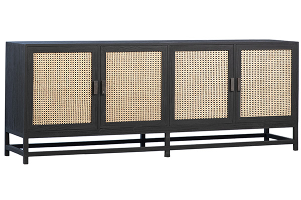 black wood and rattan sideboard