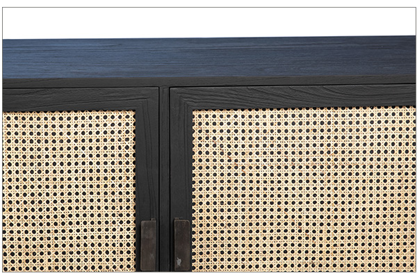 black wood and rattan sideboard close up