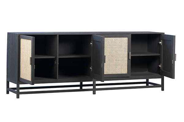 black wood and rattan sideboard with open doors