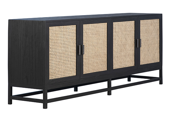 black wood and rattan sideboard side view