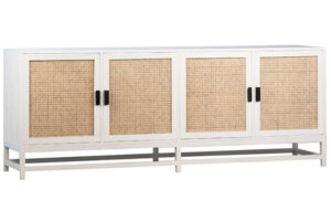 Royette White Wood and Rattan Sideboard