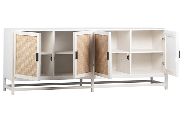 white wood and rattan sideboard with open doors