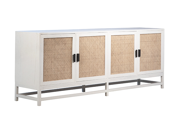 white wood and rattan sideboard side view