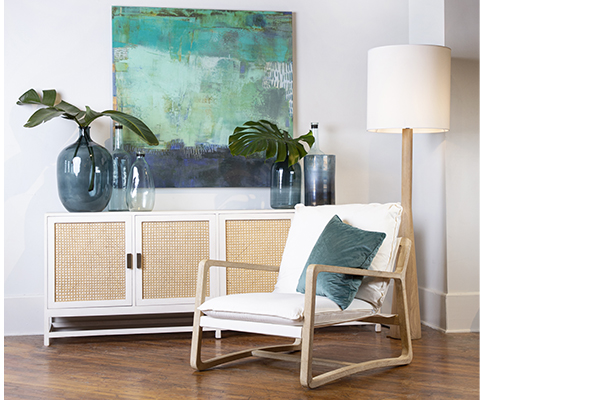 white wood and rattans sideboard in living room setting