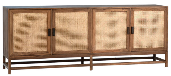 Light wood and rattan doors sideboard media console with 4 doors and iron base