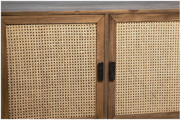 wood and rattan sideboard close up