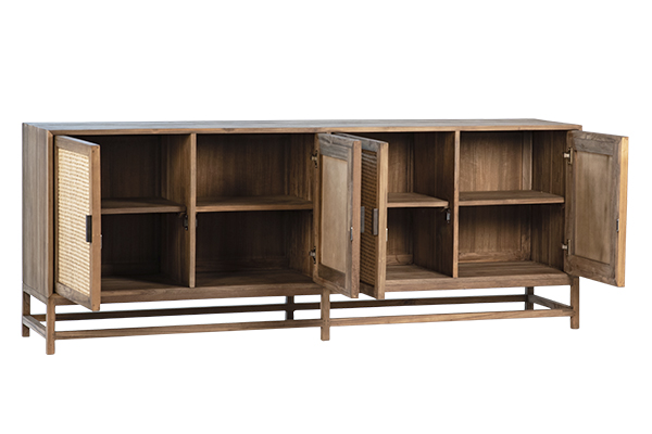 wood and rattan sideboard with open doors