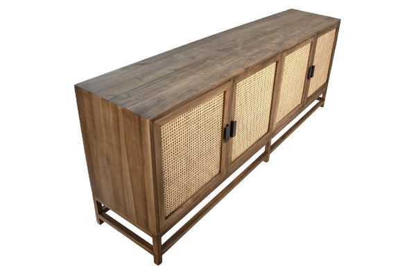 wood and rattan sideboard top view