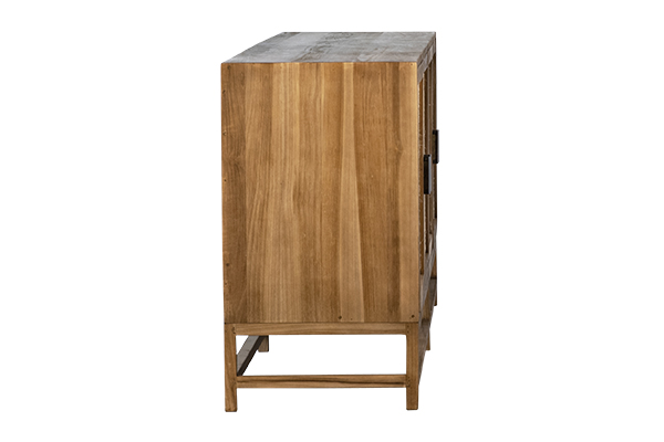 wood and rattan sideboard side view