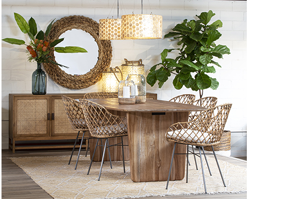wood and rattan sideboard in dining room setting