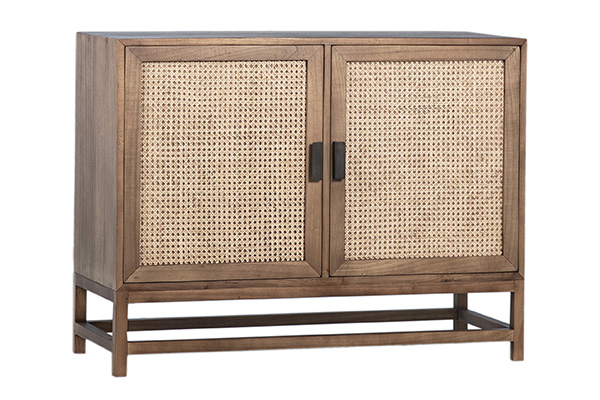 natural wood and rattan small cabinet