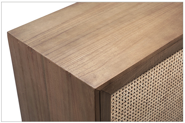 natural wood and rattan small cabinet top close up