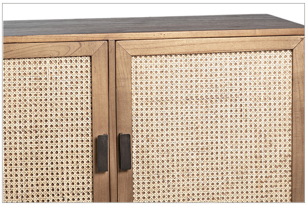 natural wood and rattan small cabinet front close up