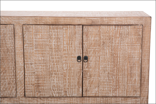 natural wood sideboard front clsoe up