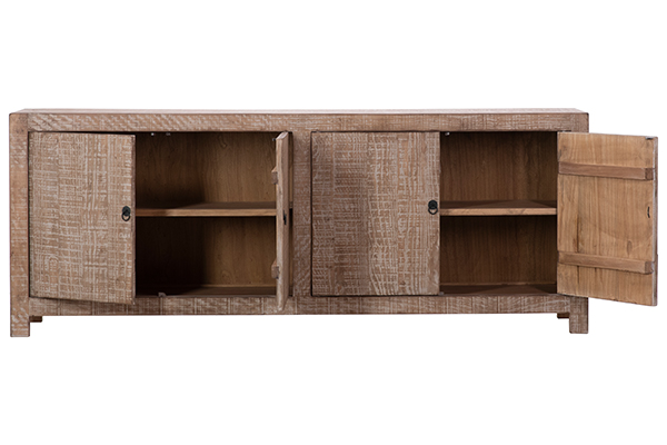 natural wood sideboard with open doors
