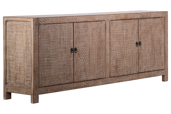 natural wood sideboard angle view