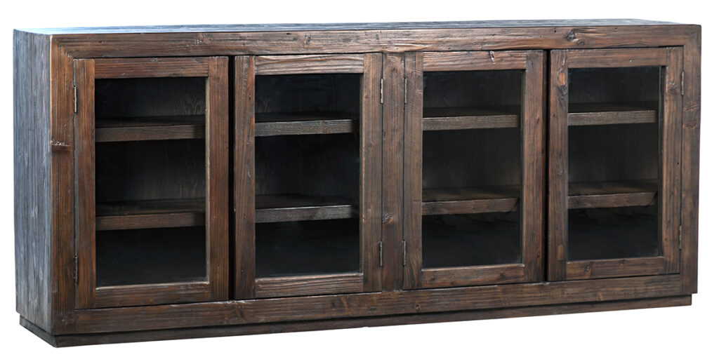 Suffolk Dark Brown Wood Glass Cabinet