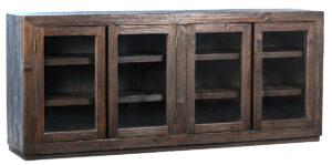 Suffolk Dark Brown Wood Glass Cabinet