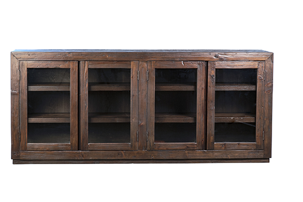 dark wood glass cabinet front view