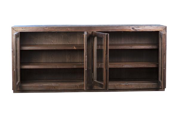 dark wood glass cabinet with open doors