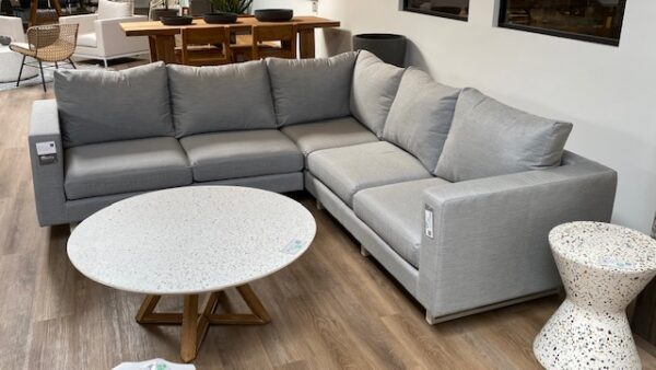 Aluminum and grey cushions outdoor sectional side view
