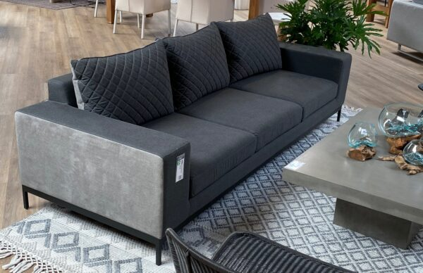 Dark grey 3 seat outdoor sofa view from the left