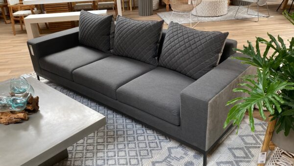Dark grey 3 seat outdoor sofa view from the right