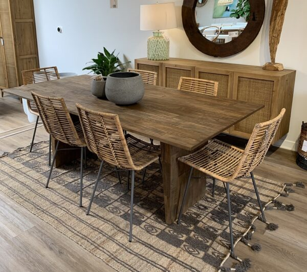 Reclaimed teak dining table 79 inches in dining room setting