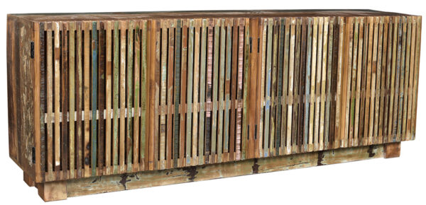Large colorful sideboard media console with slatted doors
