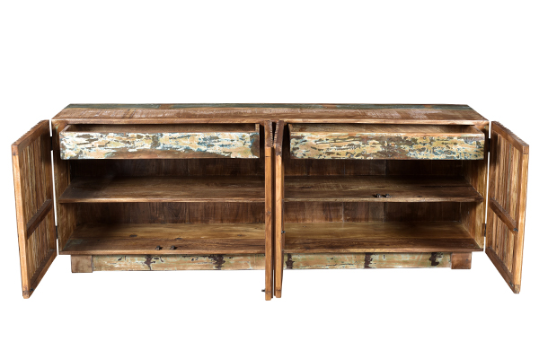 Large colorful sideboard media console with slatted doors view with open doors