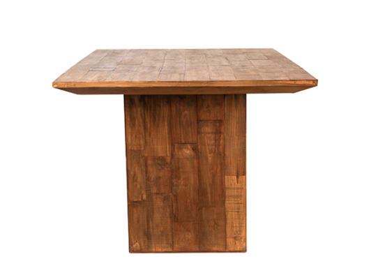 Reclaimed teak dining table 79 inches view of the side of the leg
