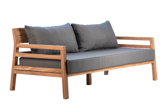"""75"""" teak bench with grey cushion side view"""